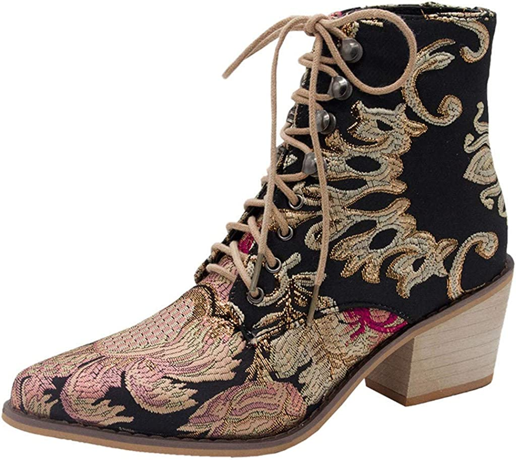 Chic Womens Suede Leather Mid Calf Boots Flower Embroidery Side zip Block shoes