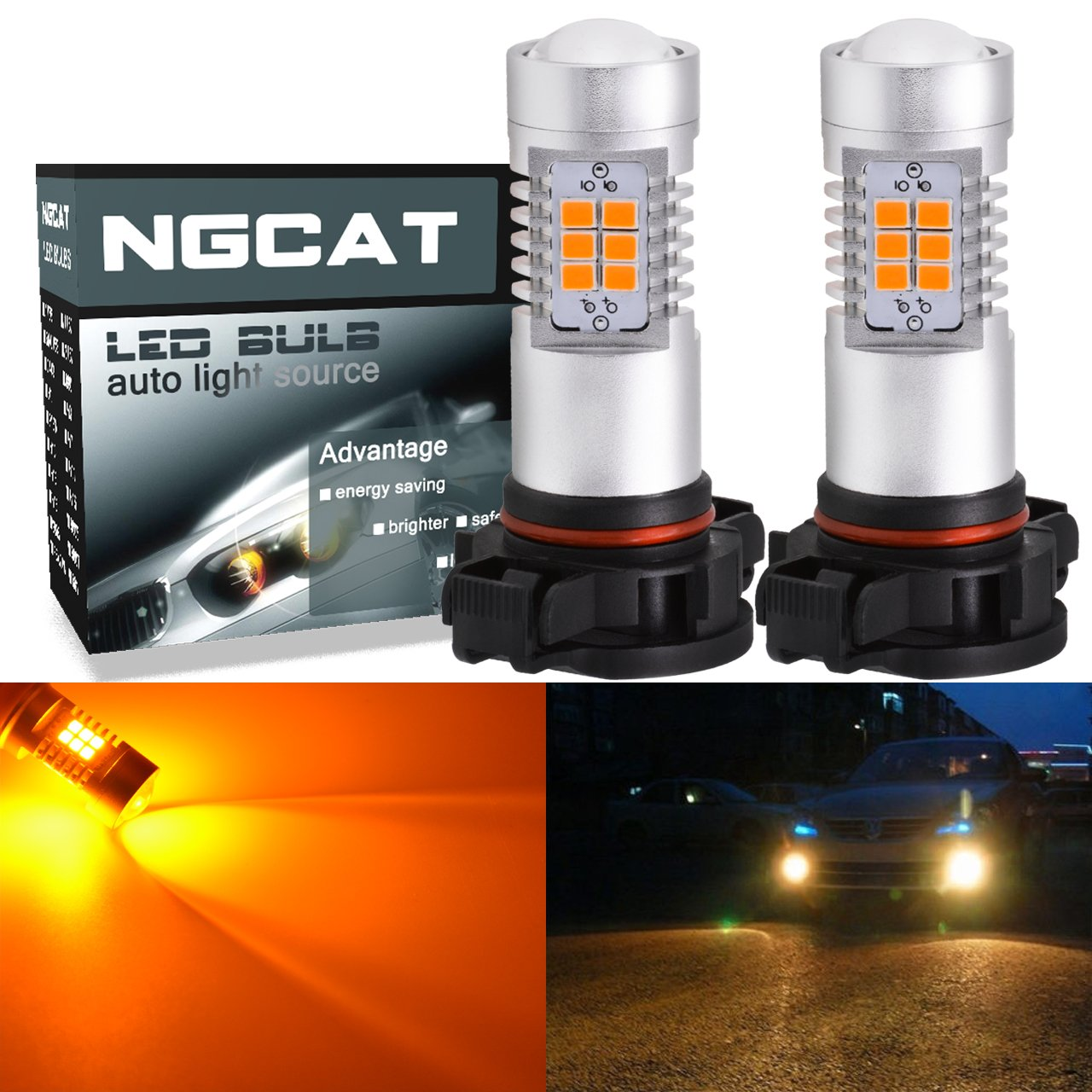 NGCAT Auto LED Bulb 2PCS PSX24W DRL Fog Light Replacement 2835 21 SMD Chipsets car Driving Daytime Running Lights, Amber 10-16V 10.5W