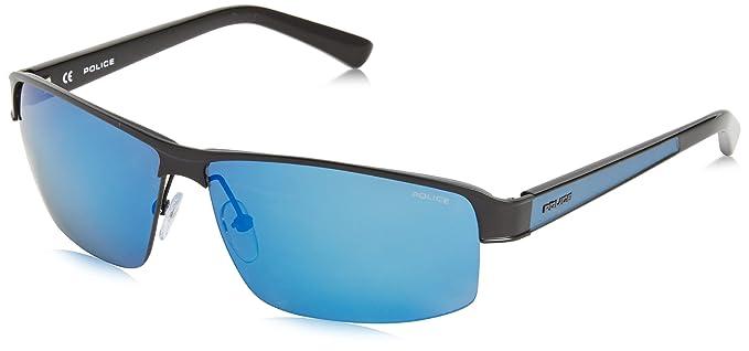 Police - Gafas de sol Wrap S8855 FORCE, Black (Semi Matt Black/Semi