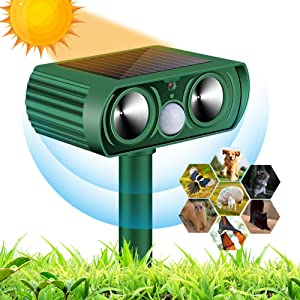 AUDS Ultrasonic Dog Chaser,Animal Deterrent with Motion Sensor and Flashing Lights Outdoor Solar Farm Garden Yard Repellent,Dogs, Cats, Birds