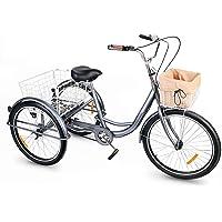 Viribus Driewieler voor volwassenen, 24 inch, fiets met mand, 3 wielen, voor volwassenen, tricycle, driewieler