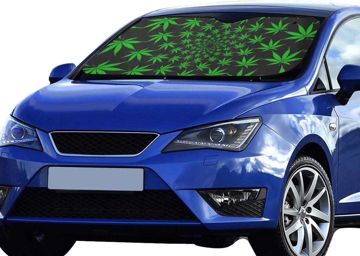 Parasol para automóvil Parabrisas Cannabis Hojas de Marihuana Vintage Sun Visor Ajuste Universal Mantener el vehículo Fresco Reflector sedán SUV Camión 55