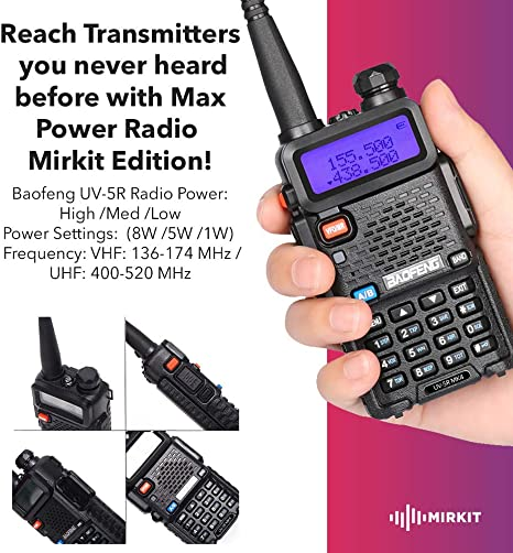 Extra Pack Baofeng Programming Cable and Software Extended Kit Mirkit BaofengRadio UV-5R MK4 8 Watt MP Max Power with 3800 mAh Handheld Mic