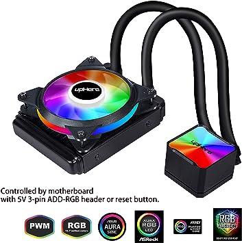 upHere RGB LED Sistema de refrigeración líquida para PC con 120 Ventilador PWM/CC120RGB: Amazon.es: Electrónica
