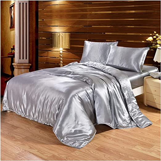 1 pc Striped Duvet Cover Queen King Size Satin Silk Quilt Cover Plaid Striped Satin Quilt Covers for Home Bedroom,Type 1,King Size Cover
