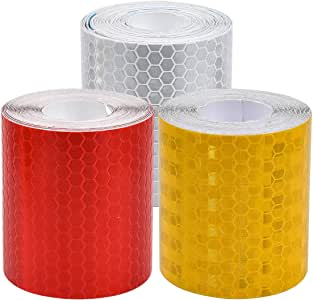 Reflective Tape, High Intensity Adhesive Tapes 3 pcs Security Warning Tape Hi Vis Tape Bright Color Safety Reminder for Traffic Cones Car Stickers Red Tape White Tape Yellow Tape 50mm × 3m