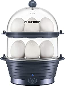 Chefman Electric Egg Cooker Boiler, Rapid Egg-Maker & Poacher, Food & Vegetable Steamer, Quickly Makes 12 Eggs, Hard or Soft Boiled, Poaching and Omelet Trays Included, BPA-Free, Midnight Blue