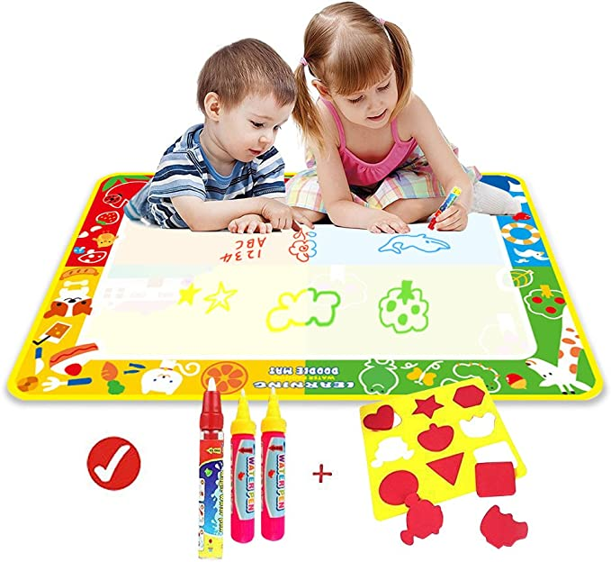 39.3in x 28.7in ,Aqua Magnetic Water Drawing Learning Painting Doodle Scribble Boards with Magic 3 Pen and Seal for Kids Wholethings Animal Large Magic doodle Mat//Water Drawing Painting Mat