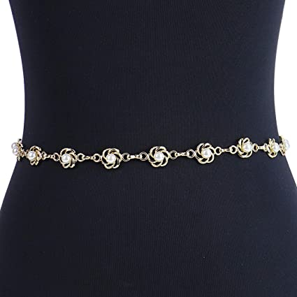 aacb77aefff Amazon.com: Monrocco Women's Metal Chain Flower Pearl Belts Skinny ...