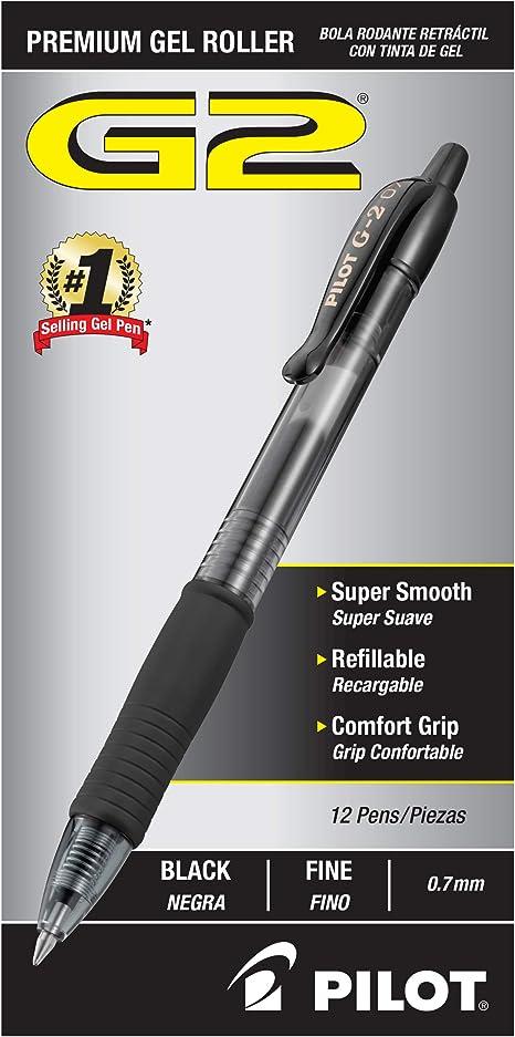 Dozen Fine Black Ink Soft Feel Ballpoint Retractable Pen