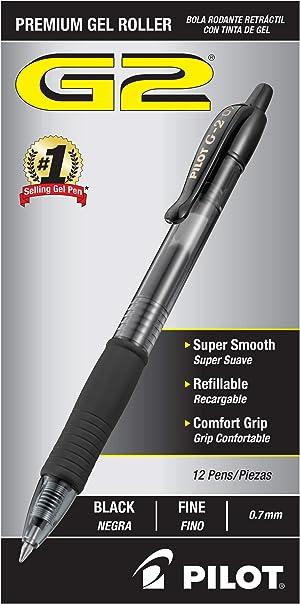 PILOT G2 Premium Refillable & Retractable Rolling Ball Gel Pens, Fine Point, Black Ink, 12-Pack (31020)