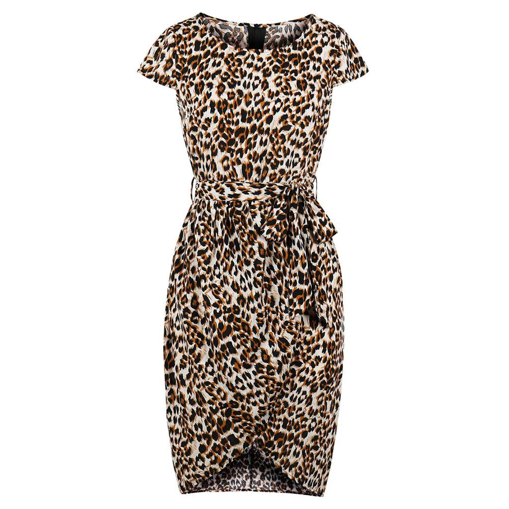 Ximandi Women Short Sleeve Leopard Print Casual Pencil Dress Evening Party Dress Yellow
