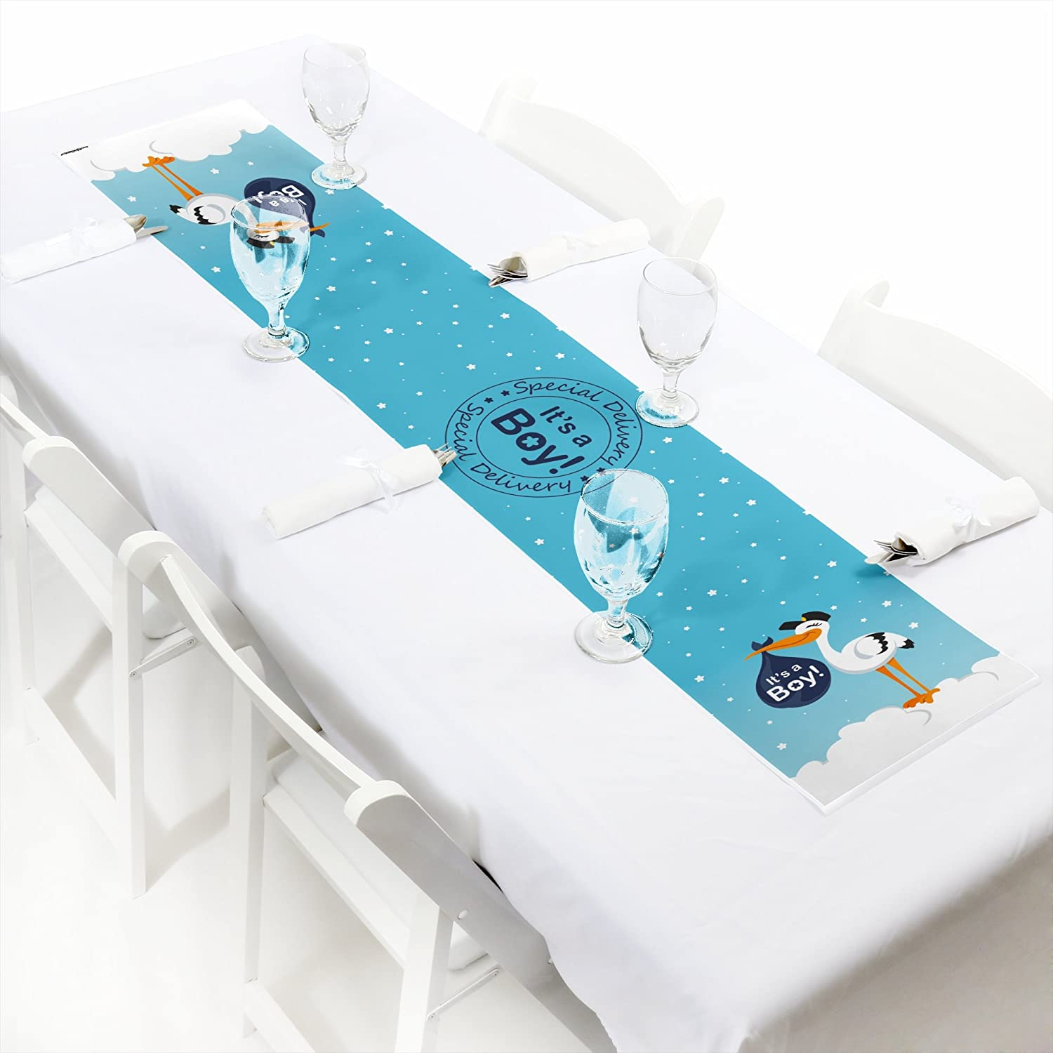 Petite Blue It/'s A Boy Stork Baby Shower Paper Table Runner 12 x 60 Boy Special Delivery