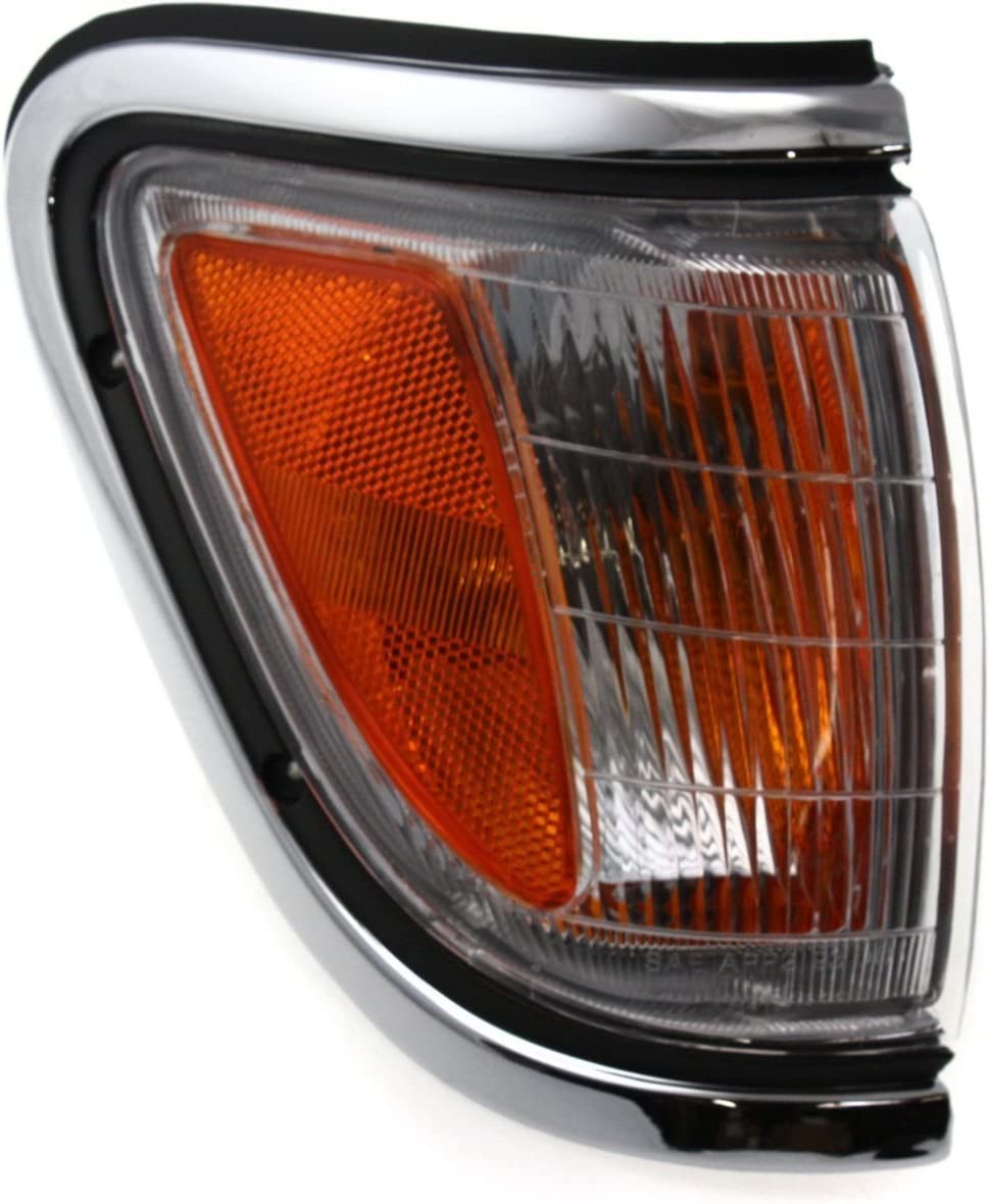 DAT AUTO PARTS Chrome Front Parking Side Marker Light Assembly Corner of Fender Replacement for 95-97 Toyota Tacoma 4WD TO2521143 Right Passenger Side