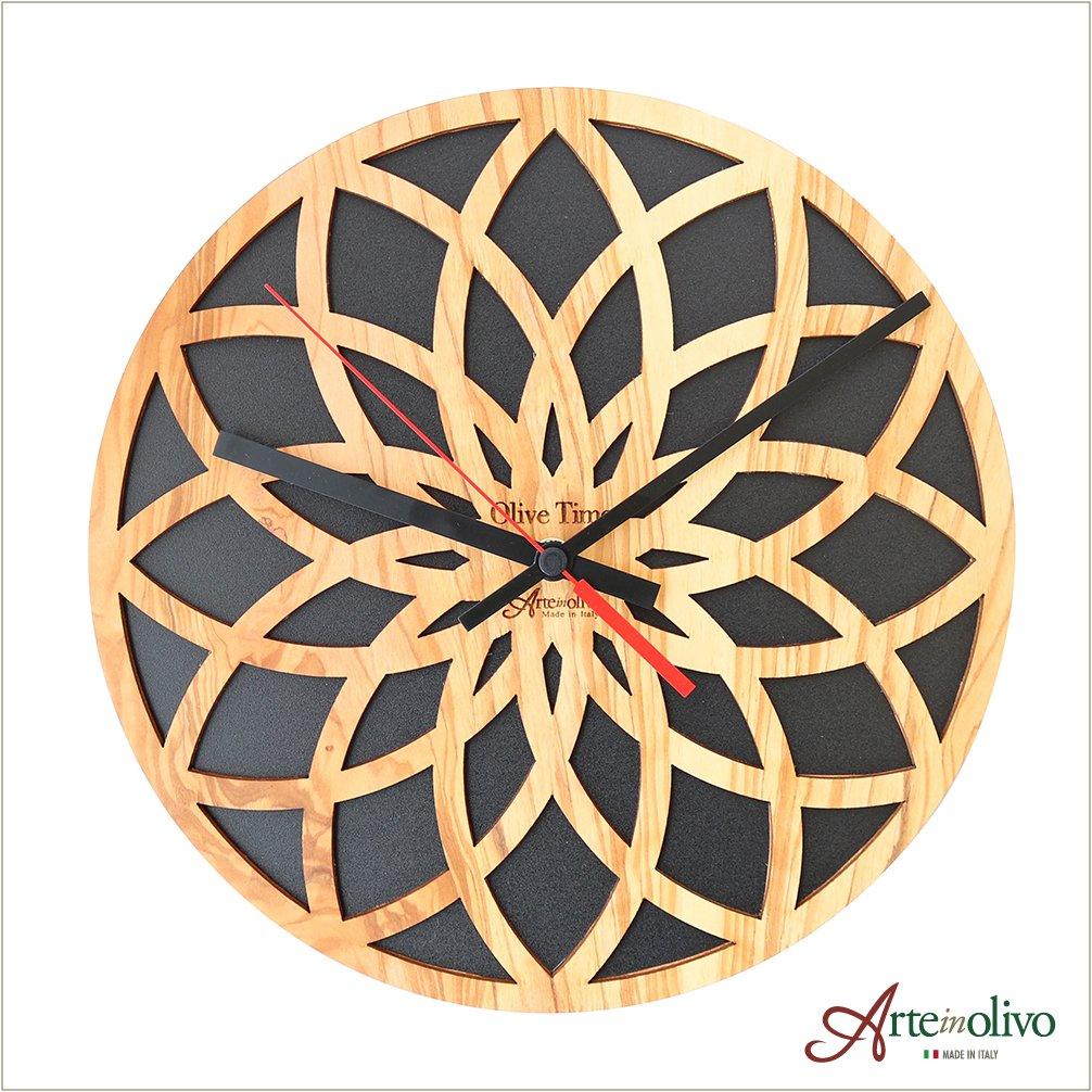 [Arteinolivo] オリーブウッドの時計(リーフ/ブラック) B07CH9VMBS