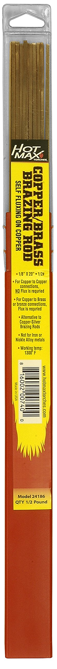 Hot Max 24186 1/8-Inch x 18-Inch Copper/Brass Brazing Rods, 1/2# by Battat