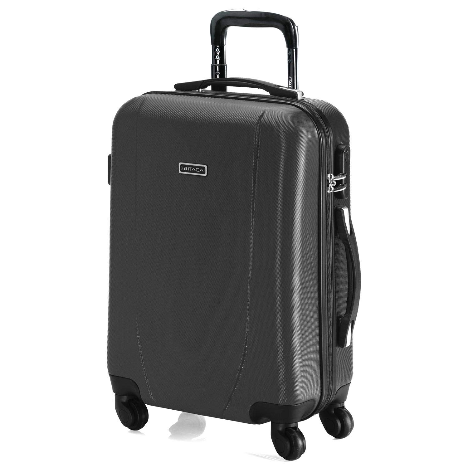 Poign/ée t/élescopique Robuste et l/ég/ère ITACA Rigide 71150 Valise Cabine Trolley 50 cm en ABS Bagage /à Main 2 anses 4 Roues Id/éal Low Cost Ryanair Vueling Color Anthracite