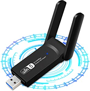 1200Mbps Adaptador WiFi USB, Receptor WiFi Dongle Inalámbrico con Doble Banda AC1200, Soporte de 5Ghz 867Mbps 2.4Ghz 300Mbps, USB 3.0 para PC/Desktop/Laptop Windows10 /8.1/8 /7 /XP,Mac 10.5-10.15