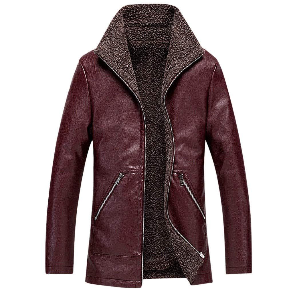 Fitfulvan Men's Plus Velvet Warm Leather Jackets Biker Motorcycle Outerwear Zipper Long Sleeve Coat Top Wine