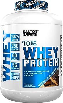 Evlution Nutrition 100% Whey, 25g de Proteína de Whey, 6g de BCAA, 5g de Glutamina, Libre de Gluten, 1.82 kg (Crema de Maní con Chocolate)