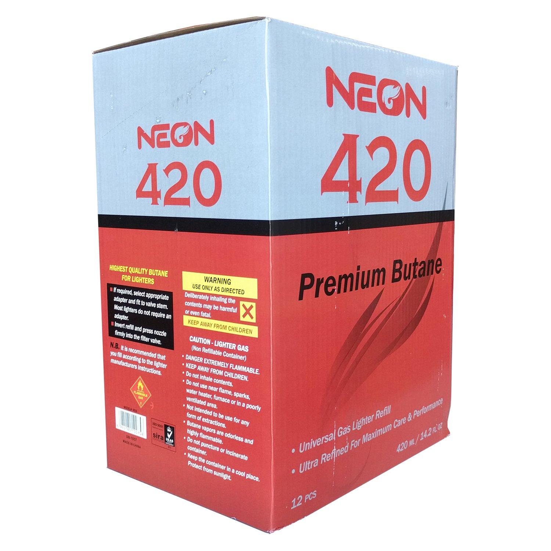 Neon Butane - 11x Ultra Refined 420mL Premium Universal Gas Lighter Refill - Near Zero Impurity - 36 Cans