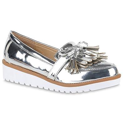 32127c216e8723 Damen Lack Slipper Loafers Metallic Quasten Profilsohle Schuhe 134235  Silber 36 Flandell