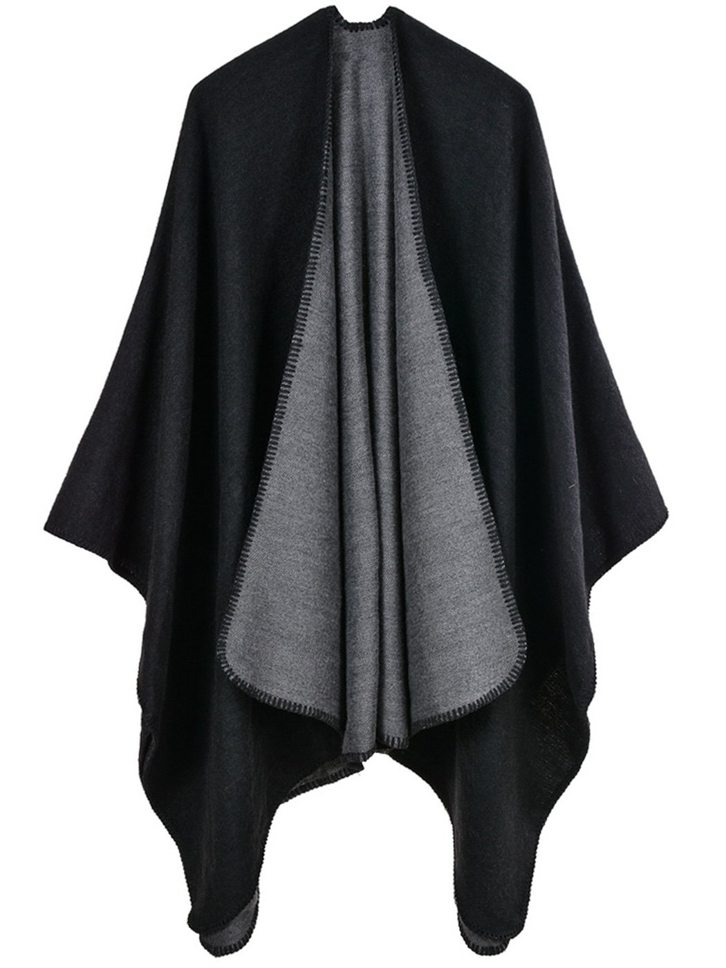 FEOYA Woman Shawls Wrap Cape Reversible Winter Fall Open Front Poncho Outwear Cardigan Scarf Black Gray
