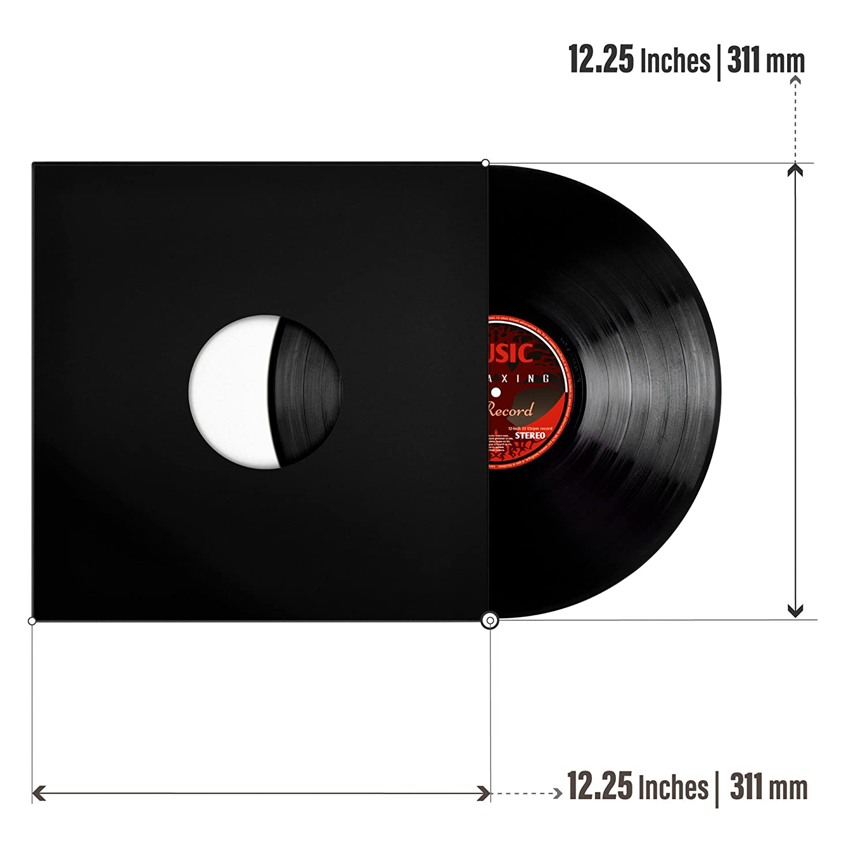 25-Pack Black Coated w//Center Hole TunePhonik 12 Inch Vinyl Record Jackets