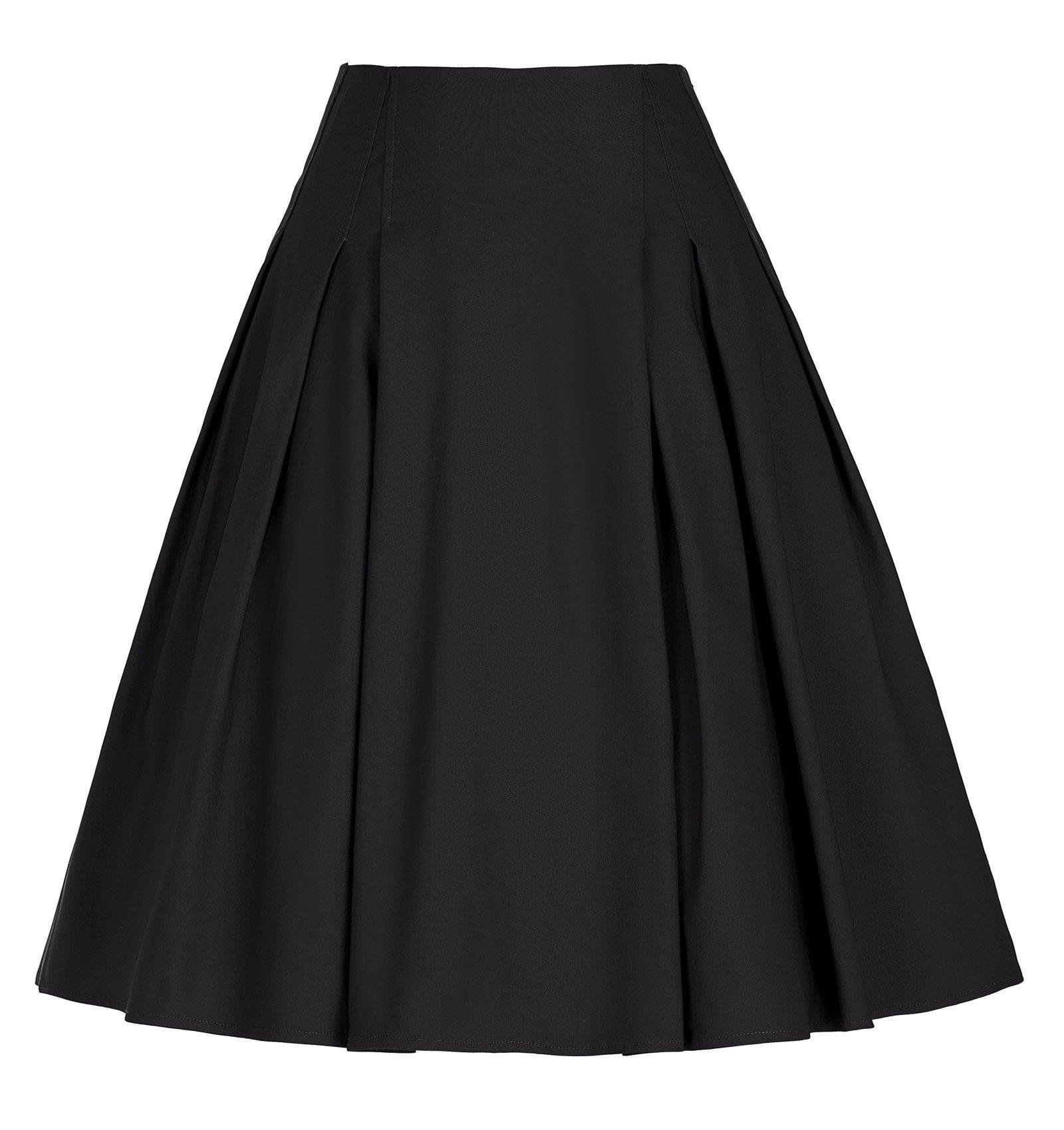 1950s Black Skirts for Juniors Knee-Length Swing Midi Dress (Black, L)
