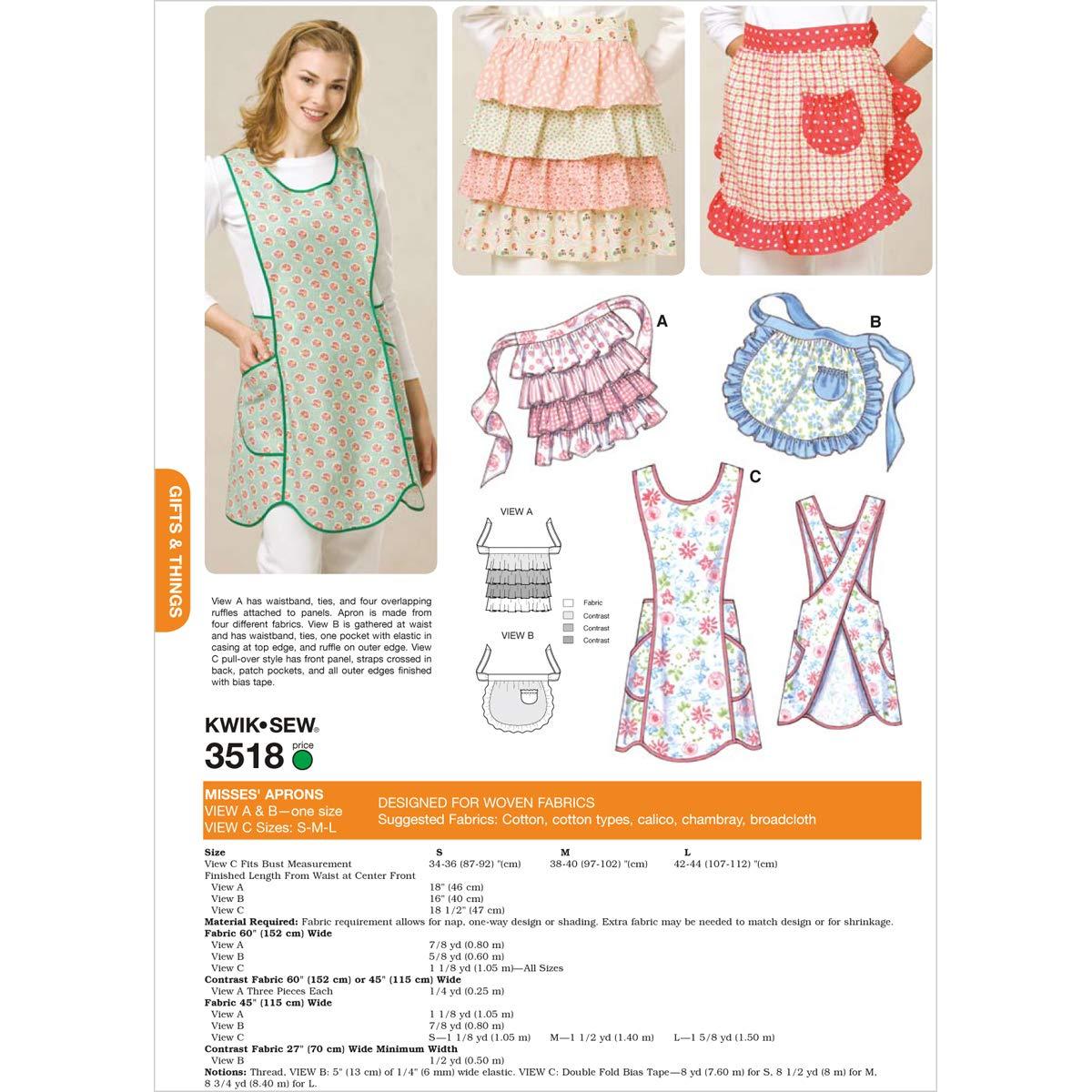 Amazon.com: Kwik Sew K3518 Aprons Sewing Pattern, Size View A and B ...