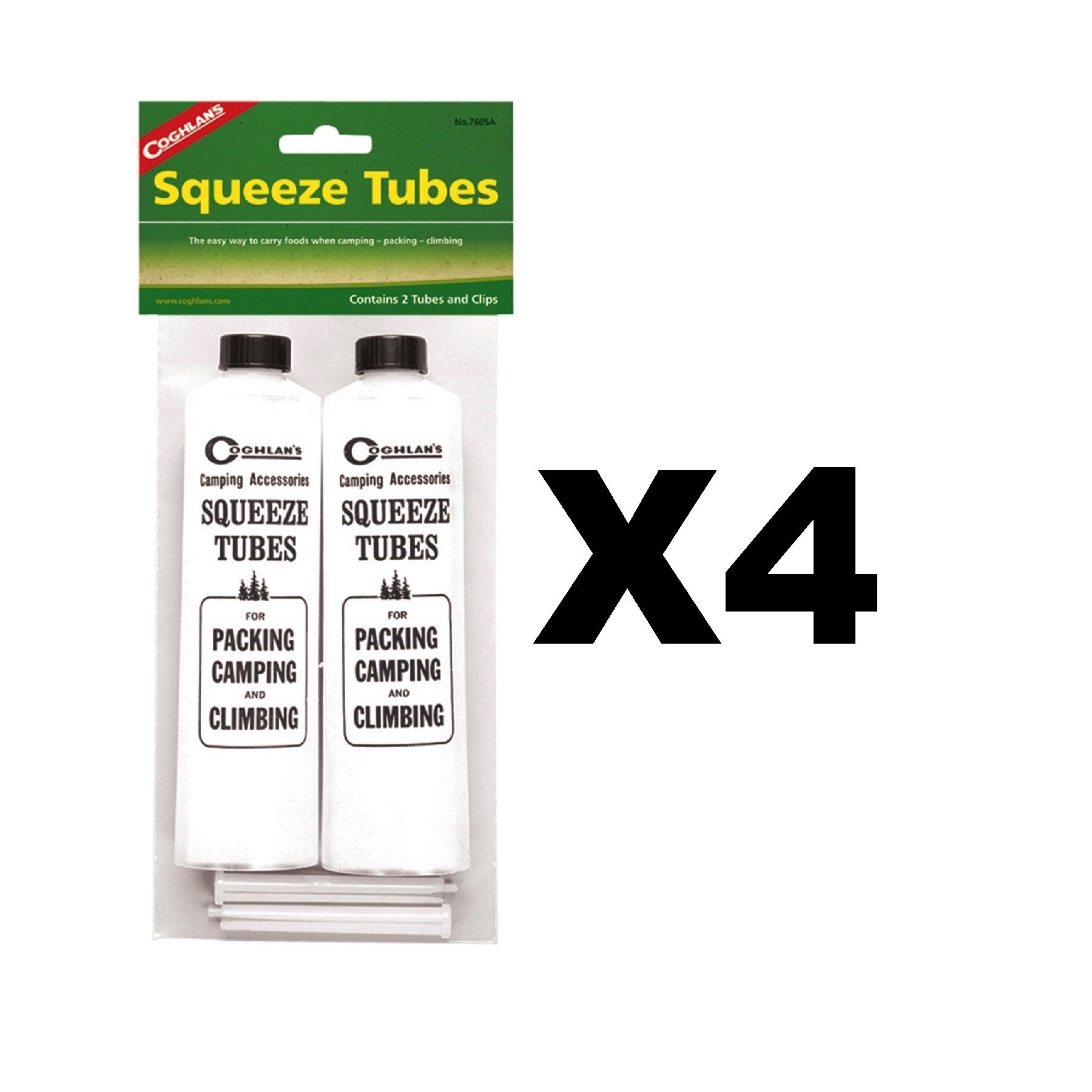 Coghlan's Squeeze Tubes Camping Reusable Plastic Food Storage (4-Pack of 2)