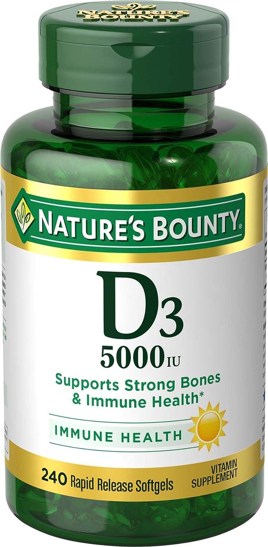 Nature's Bounty Vitamin D3 Pills & Supplement, Supports Bone Health & Immune System, 5000iu, 240 Count Softgels