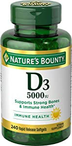 Nature's Bounty Vitamin D3 Pills & Supplement, Supports Bone Health & Immune System, 5000iu, 240 Count Softgels