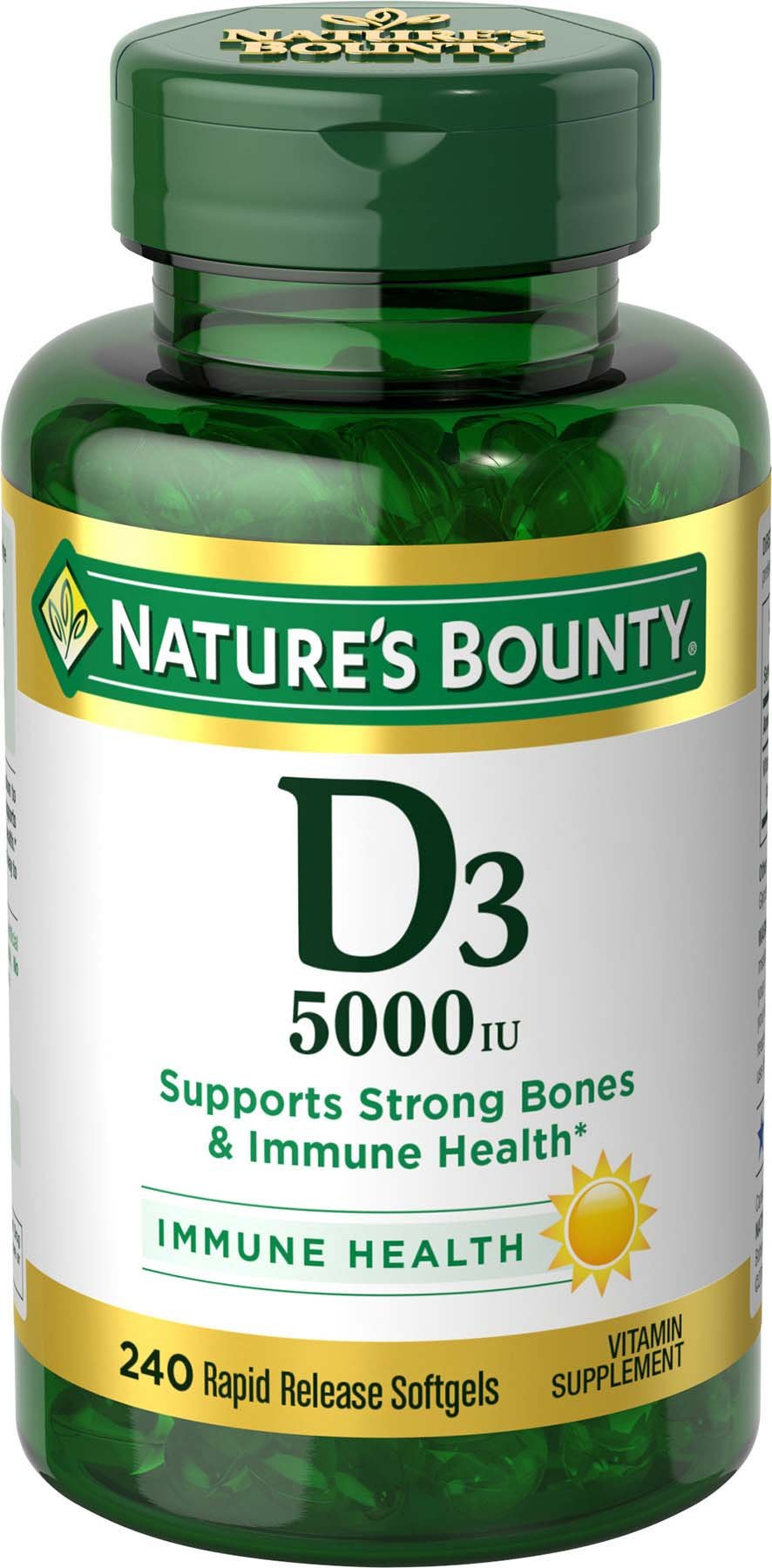 Nature's Bounty Vitamin D3 Pills & Supplement, Supports Bone Health & Immune System, 5000iu, 240 Count Softgels by Nature's Bounty