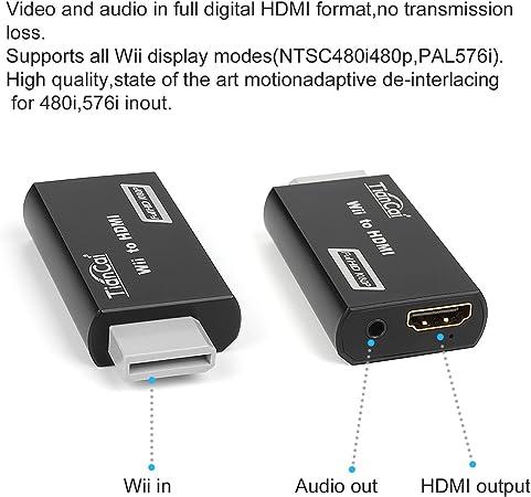 Tian Cai Wii a HDMI – Conversor adaptador Stick/Consola adaptador | Escala Wii Señal A HDMI | HDTV/Monitor/Proyectores