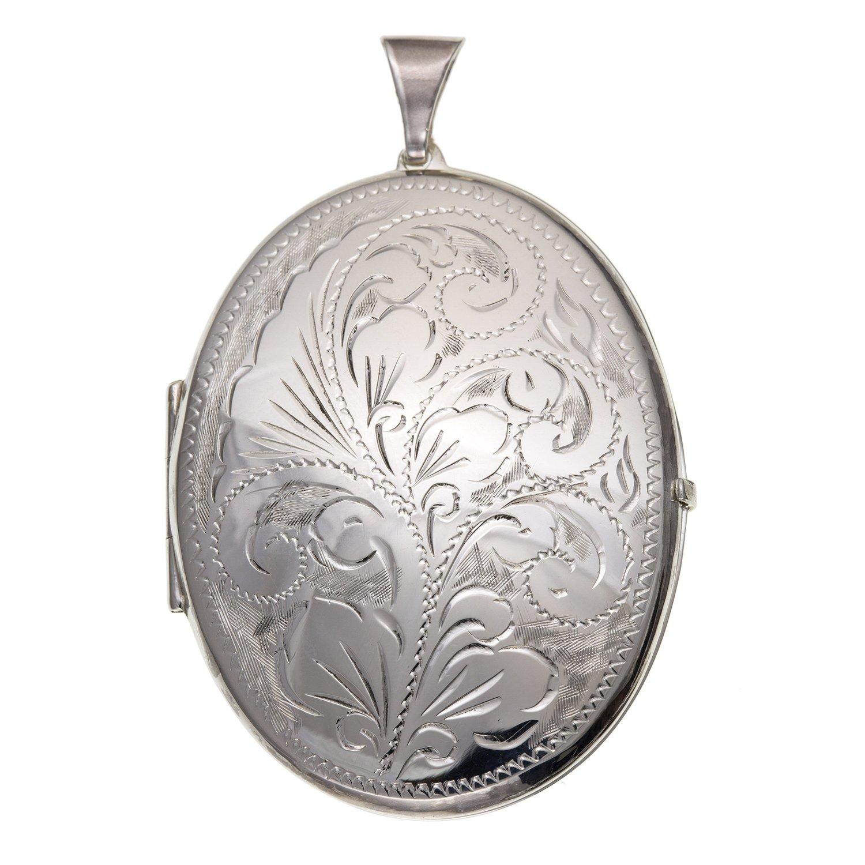 35mm de large Grande Foliate victorienne gravé Médaillon ovale–Argent Sterling 925–Livré dans une boîte cadeau gratuit ou sac cadeau M & M Jewellery BU2060ID-LL-LOCK