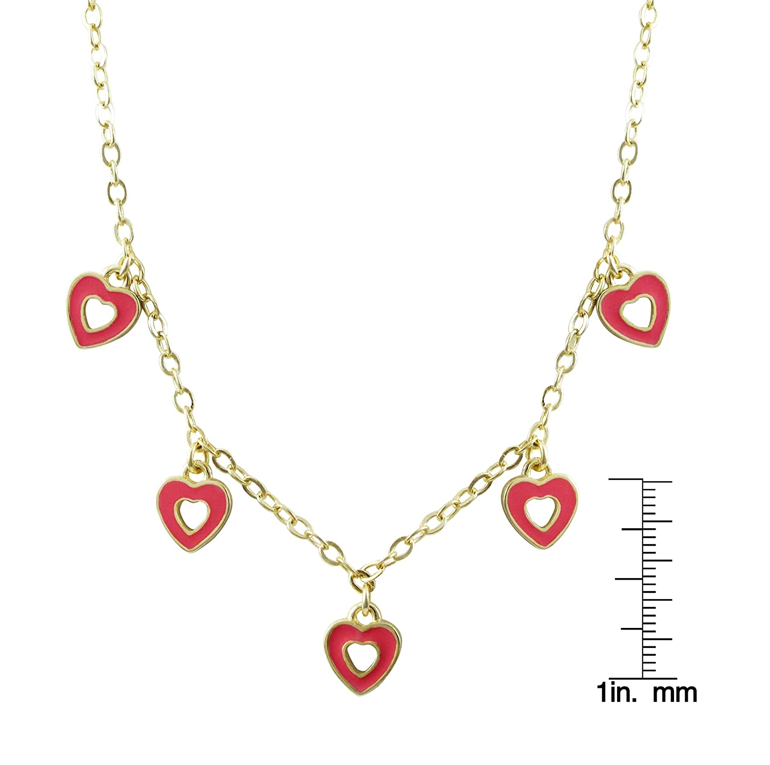 Ivy and Max Gold Finish Enamel Open Heart Childrens Dangling Charm Necklace