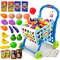 Toys N Smile 3 in 1 Kids Supermarket Plastic Shopping Cart Hand Induction with Light and Sound Pretend Play Toy for Kid with Fruits and Vegetables, Blue