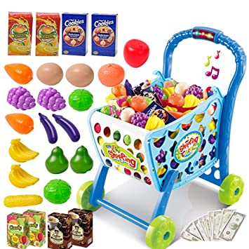 049cc0e60cbd0 Toys N Smile 3 in 1 Kids Supermarket Plastic Shopping Cart Hand Induction  with Light and