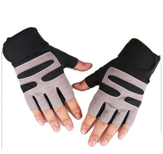 ... Fitness entrenamiento ejercicio entrenamiento proteger muñeca guantes de levantamiento de pesas mancuernas, Negro: Amazon.es: Deportes y aire libre