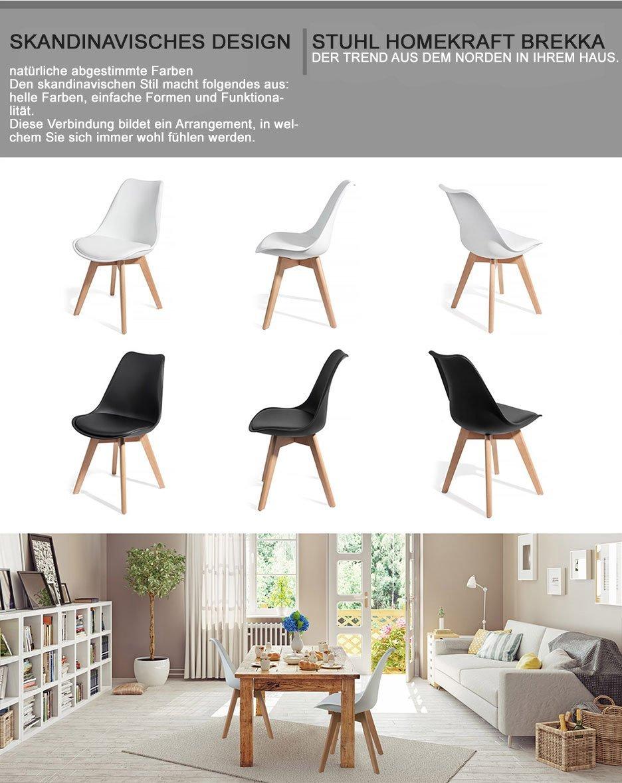 HomeKraft   100%   Model Brekka Design Lounge/Dining Chair (S), White, 1  Chaise: Amazon.co.uk: Kitchen U0026 Home