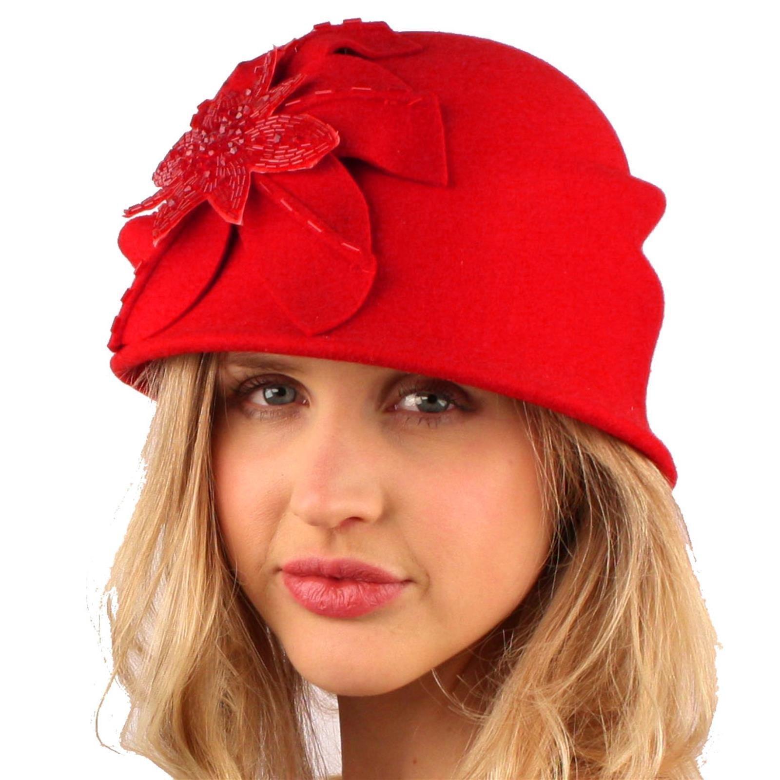 SK Hat shop Winter Wool 1920s Elegant Floral Sequins Cloche Bell Bucket Church Hat Red