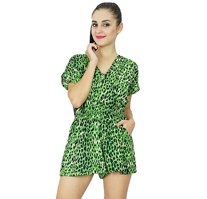 1e34b97b66 Bimba Womens Casual Short Jumpsuits Dress Indian Animal Printed Rayon  Playsuit Green