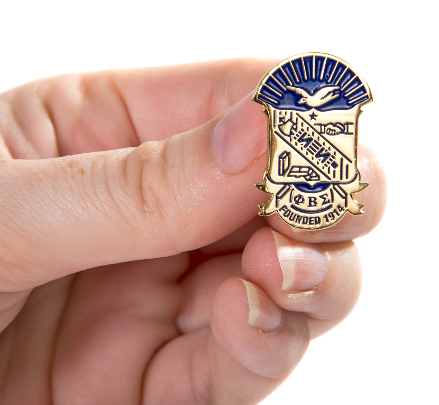 Desert Cactus Phi Beta Sigma Fraternity Crest Lapel Pin Enamel Greek Formal Wear Blazer Jacket (Gold Color Lapel Pin) by Desert Cactus (Image #3)
