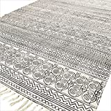 Eyes of India - 4 X 6 ft Black Off-White Cotton Block Print Area Accent Dhurrie Rug Flat Weave Woven Boho Chic Indian Bohemian