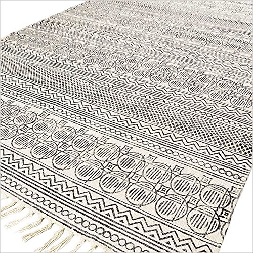 EYES OF INDIA   4 X 6 Ft Black White Cotton Block Print Area Accent Dhurrie Rug  Flat Weave Woven