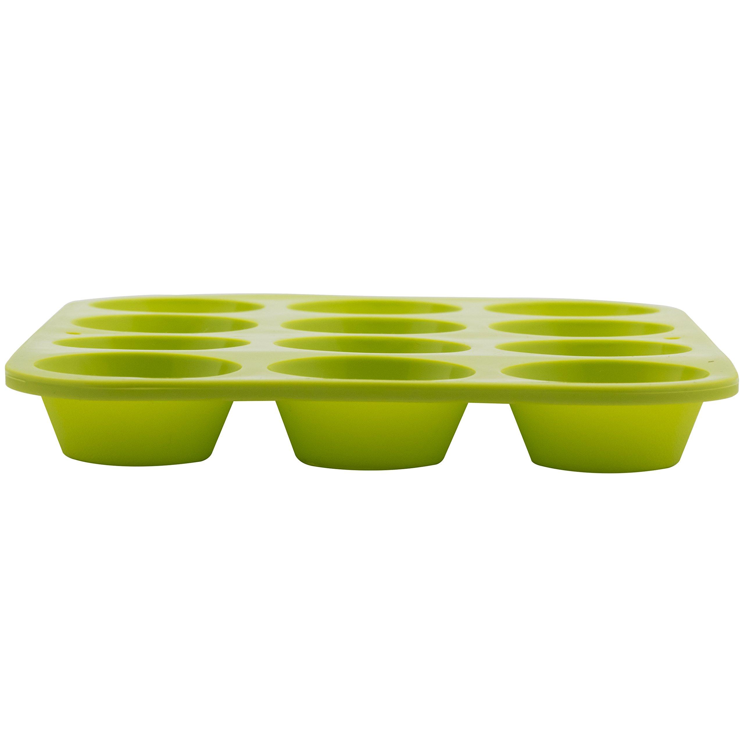 Marathon Housewares KW200011GR Premium Silicone 12 Cup Mini Muffin Pan, Green by Marathon Housewares (Image #3)
