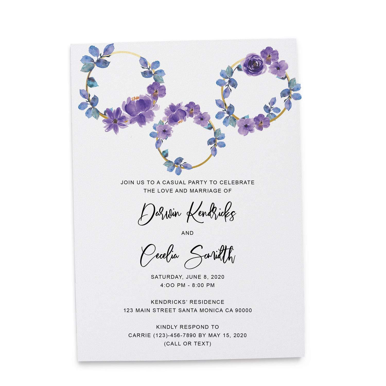Amazon Com Rustic Floral Invitation Cards Wedding