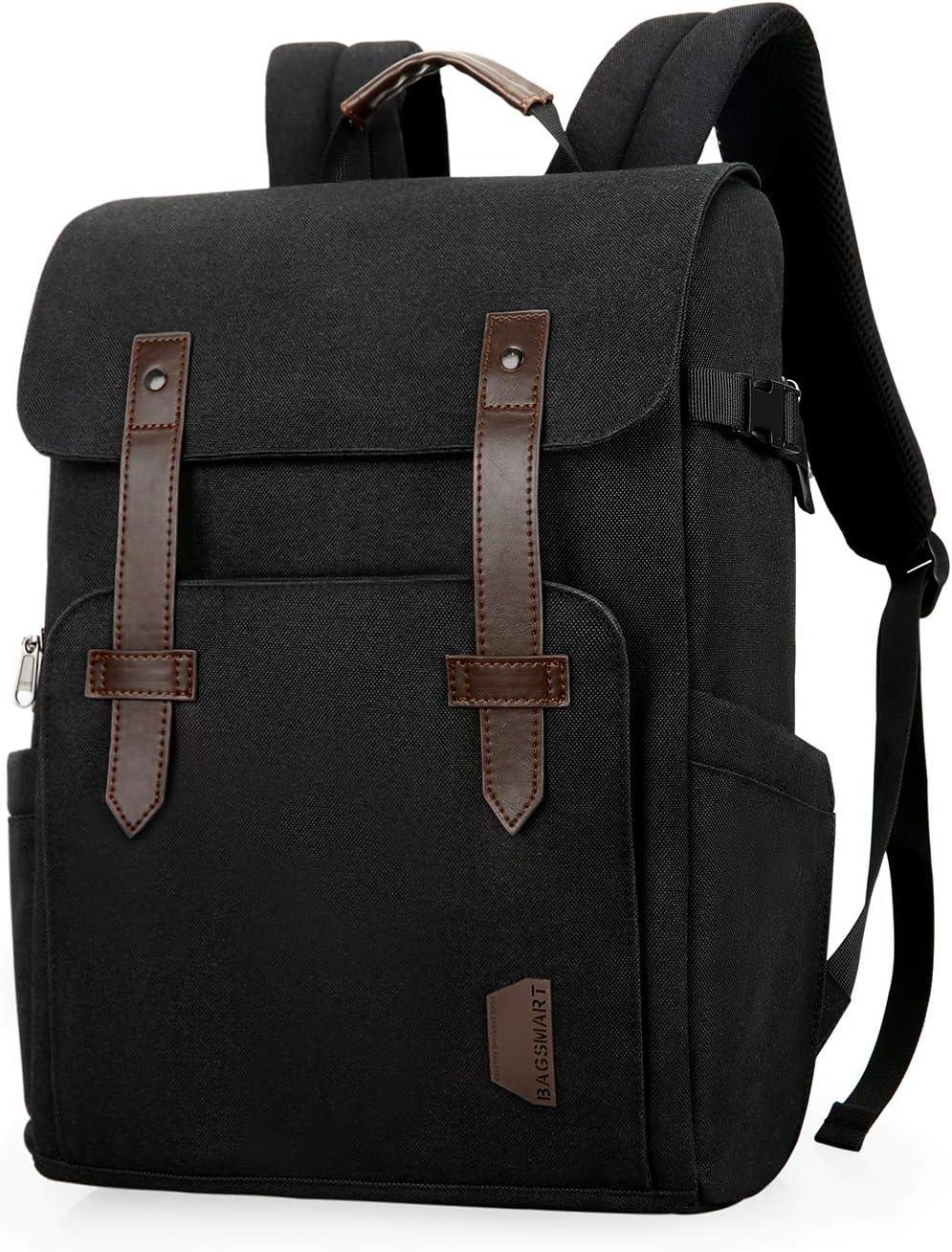 """Camera Bag, BAGSMART Camera Backpack for SLR/DSLR Cameras, 15.6"""" Laptop with Waterproof Rain Cover & Tripod Mount, Black."""