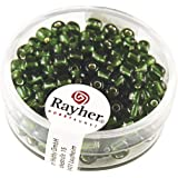 RAYHER hobby 1430029–perles de rocaille, diamètre :  4 mm, intérieur argenté, boite de 17 g, vert